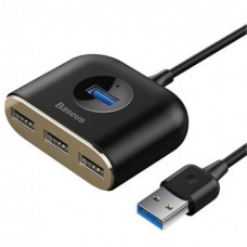 USB-Hub Baseus Square round 4 in 1 USB HUB Adapter(USB3.0 TO USB3.0*1+USB2.0*3) 1m Black