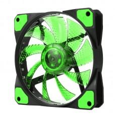 Вентилятор  для корпусу 120мм зелене підсвічування гумові