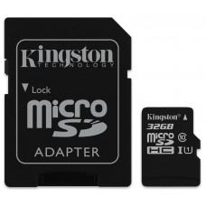 Карта памяти MicroSDHC 32GB Class 10 UHS-I R80MB/s + SD Kingston (SDCS/32GB)